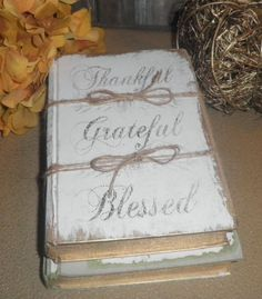 A Bundle of (2) Painted Vintage Books-Thanksgiving  ‪#‎HEPTEAM