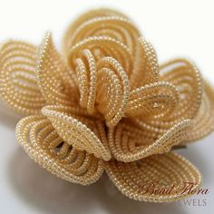 Ivory beaded flower hair clip, French beaded flowers, hair flower - for the bride or bridesmaid Bead Embroidery Jewelry, Beaded Embroidery, Hand Embroidery, Diy Flowers, Flowers In Hair, Crochet Flowers, Motifs Perler, French Beaded Flowers, Beaded Jewelry Designs