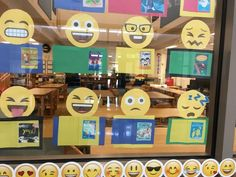 MS - Library books matched with emojis display. School Library Displays, Middle School Libraries, Elementary School Library, Library Themes, Library Activities, Library Ideas, Library Design, Elementary Library Decorations, School Library Decor