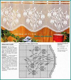 Crochet Curtain Pattern, Crochet Curtains, Crochet Quilt, Crochet Home, Thread Crochet, Crochet Doilies, Crochet Stitches, Knit Crochet, Filet Crochet Charts
