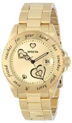 Invicta Womens Luxury Angel Analog Display Hearts Designs 18 k Gold Wrist Watch