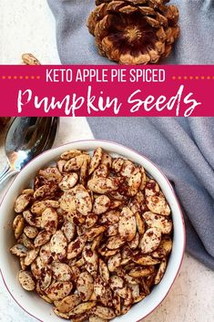 Keto Apple Pie Spiced Pumpkin Seeds... this recipe is as easy as it is delicious! Low carb, gluten free, full of healthy nutrients, and a perfect snack on-the-go! Full recipe at BlondeBeetNirvana.com #keto #ketosnacks #ketoapplespiespiced #pumpkinseeds #glutenfreesnacks #paleosnacks #lowcarbsnacks #kidfriendlysnacks #healthysnacks #applepiespiced #ketodesserts