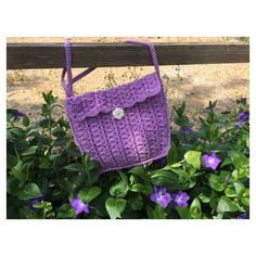Shoulder bag in cotton crocheted lined ($25) via Polyvore featuring bags, handbags, shoulder bags, purple purse, cotton handbags, crochet shoulder bag, crochet pattern purse and flower handbags