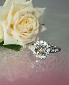 Herkimer Diamond Ring With White Topaz Sterling Silver Stunning Champagne Colored Engagement  Ring. $225.00,