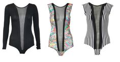 New Womens Sexy Graffiti Printed Stripped Mesh Bodysuit Tops Party Club Casual £11.99