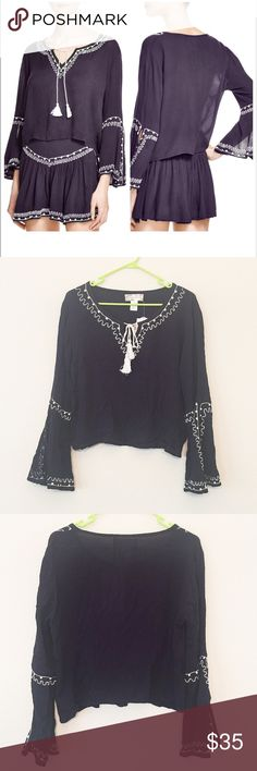 NWT Band of gypsies dark navy blue beautiful top Brand new with tag. Color: dark navy blue.  Made in India. 100% rayon,    Beautiful top.                           ❌no trade ❌no lowballing offers!!!!! Band of Gypsies Tops