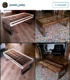 printer's drawer coffee table. my neighbor had one made, but she