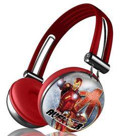 Marvel's The Avengers Movie Series Aviator Stereo Over Ear Headphones - IRON MAN - http://coolgadgetsmarket.com/marvels-the-avengers-movie-series-aviator-stereo-over-ear-headphones-iron-man/
