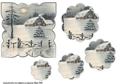 Winter scene on Craftsuprint designed by Angela Wake - this is a card front with a stacker to give depth, a lovely winter scene - Now available for download!