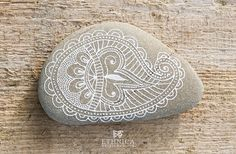 Painted rock / mehndi ornament / art / home decor