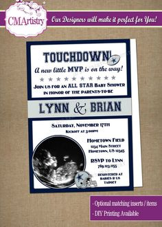 DIY PRINTABLE - NFL football themed co-ed baby shower Invitation to celebrate your little MVP on the way! All Teams Available! $12.00