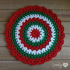 Large green red inches-christmas doily-crochet doily-christmas decor-gift for christmas-green tablecloth Crochet Mandala Pattern, Crochet Quilt, Crochet Wool, Crochet Tablecloth, Doily Patterns, Crochet Gifts, Irish Crochet, Crochet Doilies, Green Tablecloth