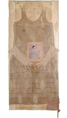 "BETYE SAAR ~ ""Blend"" (2002) mixed media collage on hand made paper 55 1/2"" x 25 3/4"" x 3/4"", signed and dated 