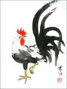 Year of Rooster - Saferbrowser Yahoo Image Search Results Sumi E Painting, Rooster Painting, Rooster Art, Japan Painting, Chinese Painting, Brush Drawing, Tinta China, Chicken Art, Galo