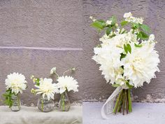 flowers for June through October weddings - Dinner Plate Dahlias bouquets floral arrangements white green ivory yellow