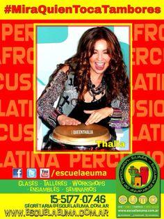 BUENOS DIAS! Hoy es martes de #MiraQuienTocaTambores/ Compartiremos fotografías de famosos tocando percusión! Si tenés alguna, compartila con nosotros! hoy, Thalia.