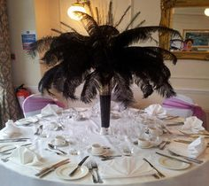 Feather table centrepieces for gala dinner events in London and the UK. Centrepieces, Table Centerpieces, Table Decorations, Birthday Table, Birthday Parties, Ostrich Feather Centerpieces, Events Uk, London Party, Masquerade Theme