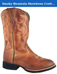 Smoky Mountain Showdown Cowboy Boot. Smoky Mountain boasts quality crafted, fashionable, durable, and affordable cowboy boots. The Smoky Mountain Showdown Children's Cowboy Boot features a leather foot under a fancy stitched shaft. Dark brown piping details at sides and opening. Synthetic leather lining. Easy-on pull straps. Imported.
