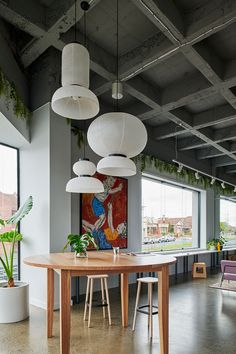 Australian architecture firm Studio Tate designed Our Community House, a co-working space that uses intelligent planning to bring different employers together. Best Workplace, Workplace Design, Waste Management System, Exposed Trusses, Restaurants, Concrete Column, Community Housing, Coworking Space, Ceiling Design