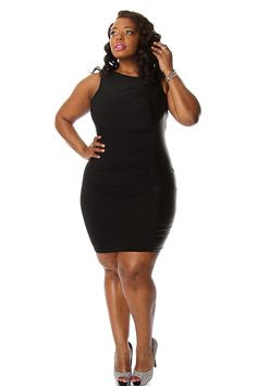 Plus Size Contrast Faux Leather Bodycon Dress