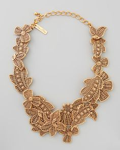 Antiqued Lace Bib Necklace by Oscar de la Renta at Bergdorf Goodman.