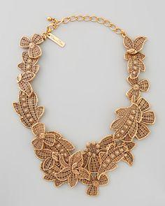 Antiqued Lace Bib Necklace by Oscar de la Renta at Bergdorf Goodman.