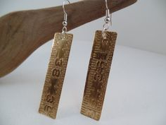 Etched brass & sterling earrings by RustyWing on Etsy $25