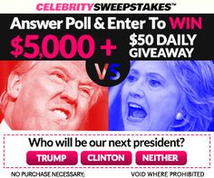 Answer Poll  to Win $5,000 plus- WHO WON  DEBATES- #HILLARY OR #TRUMP?  #sweepstakes