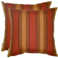 Hampton Bay Red Stripe Outdoor Throw Pillow (2-Pack)-7100-02222700 - The Home Depot