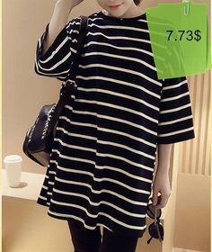 Stylish 34 Sleeve Striped Loose-Fitting Women's T-Shirt