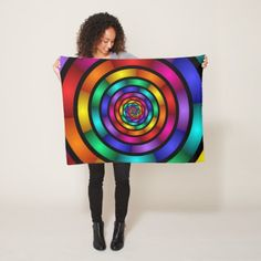 Round and Psychedelic Colorful Modern Fractal Art Fleece Blanket - stylish gifts unique cool diy customize