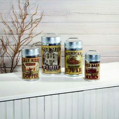 Old Farmhouse Advertising Canisters