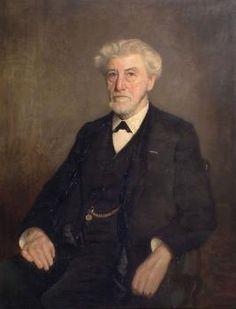 """""""Portret van Arie Smit"""", Arntzenius, [H]  Zeeuws maritiem muzeum . President en gedelegeerd commissaris 1875-1925. Erfpachter en oprichter van de Koninklijke Maatschappij de Schelde. Arie Smit behoorde tot de zevende generatie van scheepsbouwmeesters."""