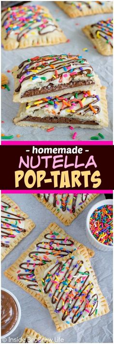 Nutella Pop Tarts - filling pie crust with Nutella and adding sprinkles makes these look just like store bought treats. Awesome breakfast recipe!