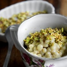 Creamy and silky pudding made with pearl barley, a beautiful and healthy alternative to rice in this Indian-style dessert.