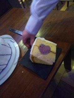 Wedding cake purple heart by Caitlin age 10