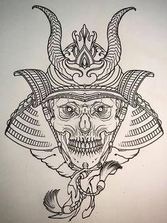 Эскиз тату самурая с рогами