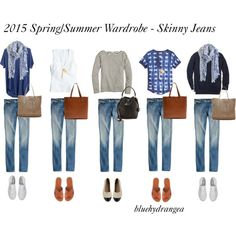Spring/Summer Wardrobe - Skinny Jeans by bluehydrangea on Polyvore featuring J.Crew, Madewell, Mossimo, Superga and Banana Republic