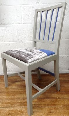 Stylish hand painted vintage chair with modern patchwork design by CarianInteriors on Etsy