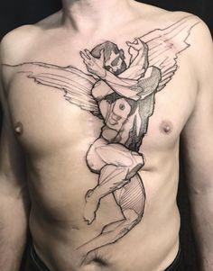 Search inspiration for a Blackwork tattoo. Scar Tattoo, Cover Tattoo, Chest Tattoo, Life Tattoos, Body Art Tattoos, Scar Cover Up, Back Tattoos For Guys, Dot Work Tattoo, Great Tattoos