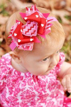 Baby Bow Valentine's Day Chevron Heart Bow Baby by KinleyKate