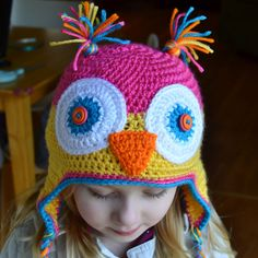 Crochet owl hat pattern. I've made this hat for a baby, and also resized for an adult. Both were done in quite different colors than this, and they look awesome! I wear mine all the time in the winter.