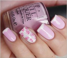 Floral accent nail and reverse pink and white French manicure. Hella classy.