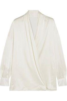 PALLAS WRAP-EFFECT SILK-SATIN SHIRT. #pallas #cloth #