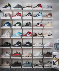 What a collection How many pairs of sneakers do you own? Wall Shoe Storage, Shoe Wall, Closet Storage, Adidas Fashion, Sneakers Fashion, Fashion Shoes, Mens Fashion, Adidas Vintage, Shoe Room
