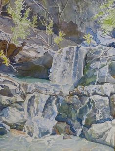 """""""Seasonal Waterfall in the Hill Country"""" 12x16 watercolor by Leslie White  http://www.trailheadstudios.com/blog.html"""