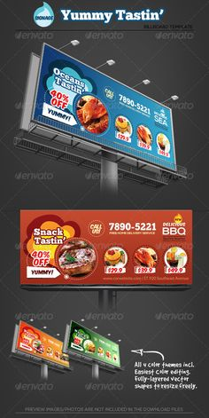 Buy Yummy Tasting - Restaurant Billboard Template by katzeline on GraphicRiver. [ Yummy Tasting – Restaurant Billboard Template ] includes: + in Bleed, CMYK Print Ready Photoshop PSD CS. Food Background Wallpapers, Food Backgrounds, Pizza Promo, Banner Design Inspiration, Food Menu Design, Food Banner, Snack Recipes, Snacks, Signage Design