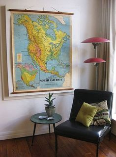 I've been slightly obsessed with vintage maps lately. Maybe it's an extension of my love for vintage globes or the adorable house tour The Etsy Blog recently featured (see image 2 above). Either way, I'm game for softening our space with a vintage map, what about you?
