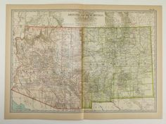 Vintage Map of Arizona New Mexico Map 1911 Southwestern Decor Gift Idea, Vintage Art Map, Old US Geography Map by OldMapsandPrints on Etsy