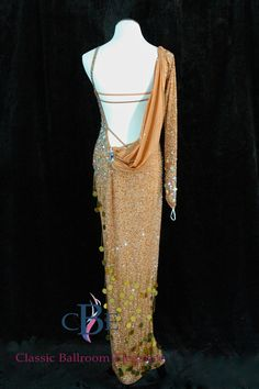 Back View of Long Latin/Rhythm Dress, CRD309   Available for sale only at Classic Ballroom Elegance, www.cberentals.com